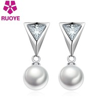 New Fashion 8mm Freshwater Pearls Stud Earring Crystal Triangle Design Earring F - $8.13