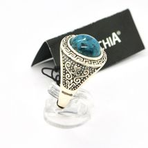 Silver Ring 925 Antique with Chrysocolla Turquoise Made in Italy by Maschia image 6