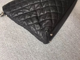 AUTHENTIC CHANEL BLACK QUILTED CAVIAR LARGE 2-WAY SHOPPING TOTE BAG Silver HW image 4