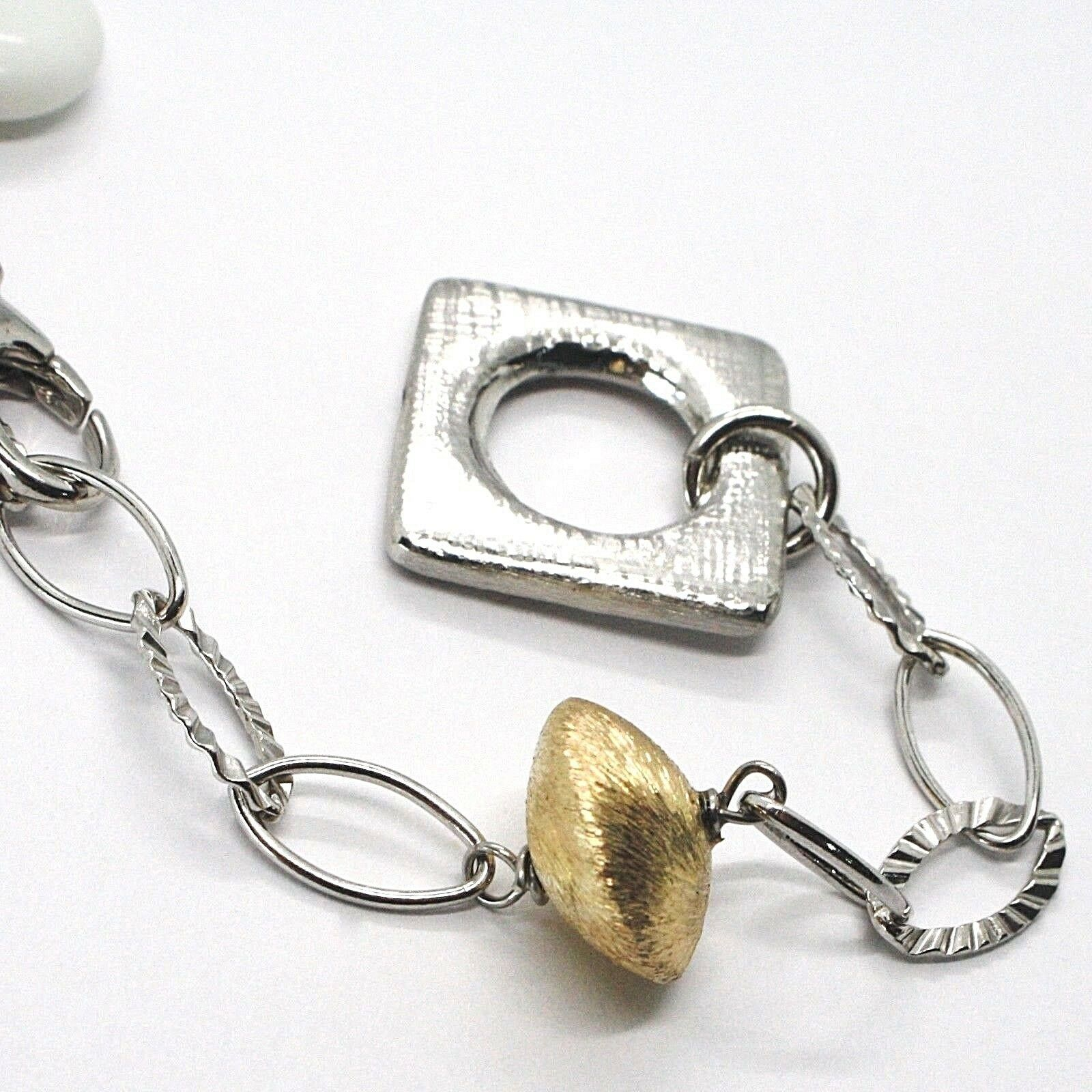 SILVER 925 NECKLACE, AGATE WHITE, SQUARE PENDANT, CHAIN OVALS WORKED image 3