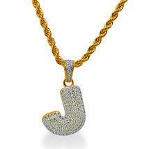 """925 Sterling Silver Gold Plated Custom Iced Out Bubble Letter """"J"""" with 24"""" Chain - $79.99"""