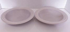 Pfaltzgraff Terrace Lilac Two Rim Soup Bowls Solid Embossed Rings on Edge USA - $21.66