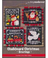 Chalkboard Christmas Greetings holiday cross stitch chart Tiny Modernist  - $10.80