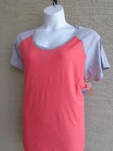 Hanes Cotton Blend Raglan S/S Scoop Neck Baseball Tee Shirt L Coral/Gray - £3.27 GBP