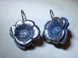 Vintage .925 Sterling Silver Sunflower Pierced Earrings Wires 7.1 grams - $35.00