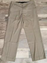 Perry Ellis Dress Pants Size 34 x 32 Olive Green Flat Front No Cuffs - $40.04