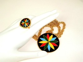 Vintage Hex by Hoffman PA Dutch Necklace and matching ring set Statement... - $24.70