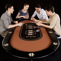 Folding Poker Table Professional 10 Player Casino Cup Holder Drink Durab... - $222.06