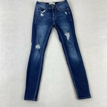 Mudd FLX Stretch Low Rise Skinny Jeans Women's 1 Blue Distressed Cotton ... - $18.95
