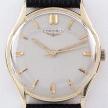 Longines 14k or Jaune Homme Remontage Watch W / Bande de Cuir Noir - $942.45