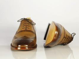 Handmade Men's Tan Leather Toe Burnished Wing Tip Heart Medallion Dress Shoes image 3