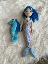 "Aurora sea sparkles Mermaid Seahorse plush Doll lot Stuffed Toy Blue 17"" - $17.81"
