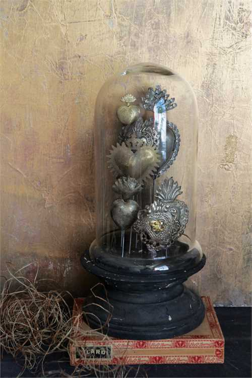 Antique Style  Tin Sacred Hearts on Wood Pedestal w/ Glass Cloche,15''H.