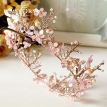Himstory Handmade Sweet Pink Round Flower Tiara Crowns Branch Bridal Wed... - £34.17 GBP
