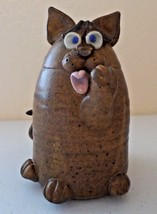"Handcrafted Pottery - Cat Lovers Kitty Cleaning Signed by Artist - 7"" Pi... - $24.21"