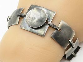 925 Sterling Silver - Vintage Smooth Flat Square Linked Chain Bracelet -... - $64.71