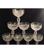 Hobnail Clear (Pressed) (8) Duncan & Miller [DUNHOB] Bubble Champagne Gl... - $60.75