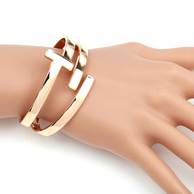 UE- Contemporary Designer Rose Gold Tone Hinged T-Bar Cuff Bangle Bracelet - $19.99