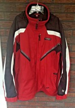 Spyder Jacket Large 52 Red Black White Hood Drawstring Pockets Long Slee... - $74.25