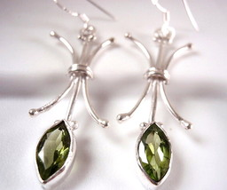 Faceted Peridot Marquise Drop Earrings 925 Sterling Silver Corona Sun Je... - $23.71