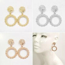 E0031 Rough Hollow Metal Double Circle Drop Dangle Post Earrings - $7.49
