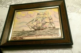 USS Cumberland Drawing Vintage Framed and Matted Picture Signed Tanzi 1979 - $46.39