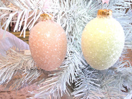 2 Glass Eggs Easter Tree Ornaments Orange Yellow Pastel Shabby Chic Glitter HP  - $29.99