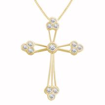 "14K Yellow Gold Fn 0.77 Ct Round Diamond Women's Cross Pendant With 18"" ... - $107.67"