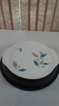 Vintage Salem Biscayne Platter with Teal Aqua Beige Leaves - $14.84