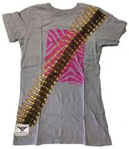Cardboard Robot Women's Lilac or Gray Zebra Hunter Bullet Belt T-Shirt XS S NWT image 2