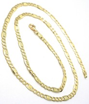 Chain Yellow Gold 18K 750, 50 cm, Curb Flat and Plates Bluebeat, 4 MM image 2