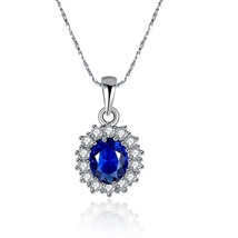 10MM Cushion Created Sapphire and Pendant in Sterling Silver - $14.69