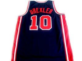 Clyde Drexler #10 Team USA Basketball Jersey Navy Blue Any Size image 2