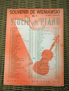 Primary image for Souvenier De Wieniawski No. 1 Wm. E. Haesche 1925 Sheet Music