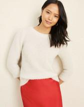 NWT Women's Ann Taylor Winter White Textured 3/4 Puff Sleeve Sweater Sz XL - $34.64