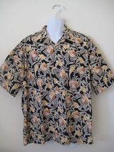 Campia Moda Men's Button Front Hawaiian Print Shirt  XL Black Green Yellow - $24.74