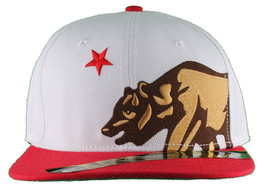 Dissizit! Side Bear White Red Brim Snapback Cap Hat California Star Flag