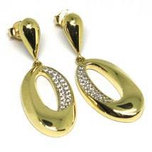 Drop Earrings Yellow Gold 750 18K, Oval Wavy with Cz image 1