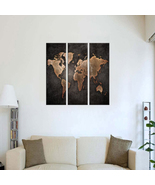3 pcs Modern Abstract Wall Mount Art Paintings World Map Canvas Home Decor - $11.99