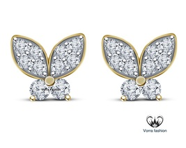 Butterfly Stud Earrings Round Cut Diamond 14k Yellow Gold Over Pure 925 Silver - $42.99