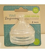 Well Beginnings Fast Flow Wide Neck Silicone Bottle Nipples BPA Free 2pk. - $4.99