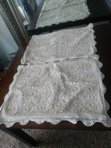 Set Of 2 Hand Crocheted Floral Cream Colored Pillow Cases - $37.39