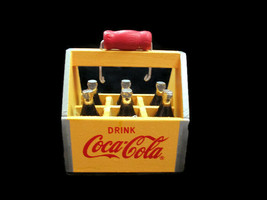 Coca-Cola Yellow 6-Pack Crate Vintage Style Wood Look Holiday Christmas ... - $12.87