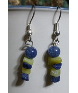 Serpentine and Lapis Lazuli Natural Stone Chip Dangle Earrings - $25.00