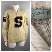 1950s Wool Sweater / 50s V Neck Pullover Letterman Sweater Patches M/L - $89.00