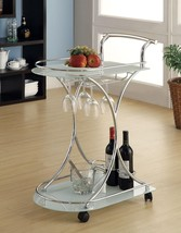 Chrome Metal Wine Serving Cart with Stylish Glass Shelves - Free Shipping - $106.90