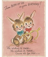 Vintage Birthday Card Bunny Rabbits with Wishbones 1950s Gibson - $6.92