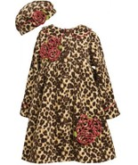 Brown Leopard Print Rolled Rosette Fleece Coat / Hat Set BR3FR,Bonnie Je... - $40.39