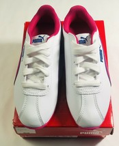 new puma turin ps 36160014 white ultra magenta kids leather sneakers sz 12c - $37.04
