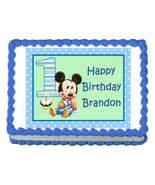 Mickey Mouse 1st Birthday Edible Cake Image Cake Topper - $8.98+